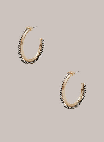 Twist Detail Open Hoop Earrings, Yellow,  two-tone, metallic, twist, open, hoop, fall winter 2020
