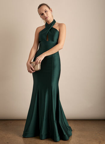 Halter Neck Mermaid Dress, Green,  prom dress, gown, halter neck, open back, mermaid, satin, full length, train, crinoline, spring summer 2020
