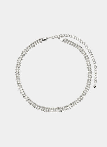 Pearl Detail Chain Belt, Silver, hi-res