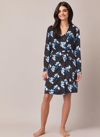 Floral Print Robe & Nightshirt, Blue,  robe, nightshirt, set, floral print, fall winter 2020