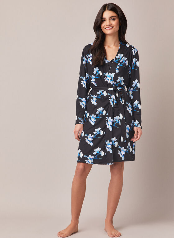 Floral Print Robe & Nightshirt, Blue