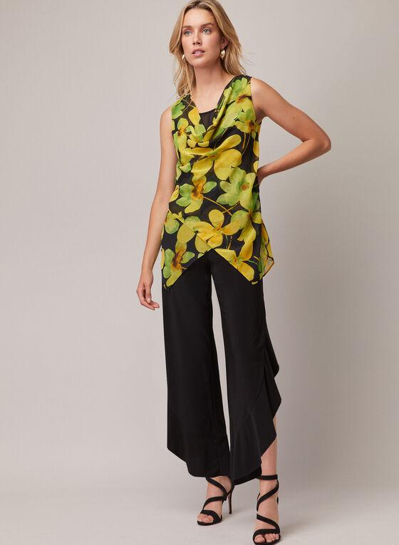 Joseph Ribkoff - Floral Print Cowl Neck Tunic, Black