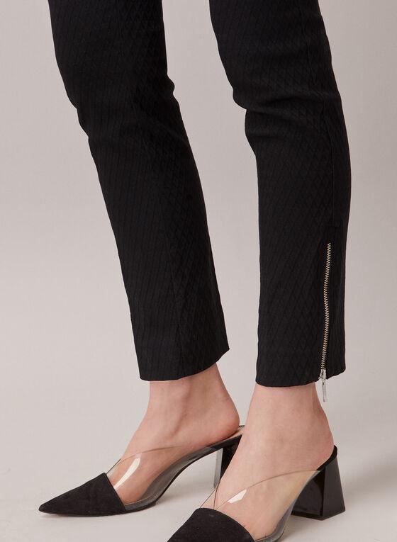 Pantalon en jacquard et détails zips, Noir
