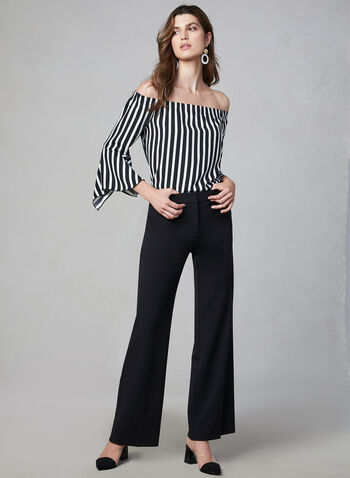 Striped Off-the-Shoulder Blouse, Black, hi-res,  Canada, blouse, 3/4 sleeves, bell sleeves, stripe print, off the shoulder, fall 2019, winter 2019