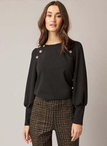 Button Detail Ballon Sleeve Top, Black,  fall winter 2020, balloon sleeves, top, jersey, boat neck, buttons made in canada