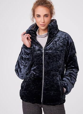 Bernardo - Velvet Polyfill Coat, Blue, hi-res