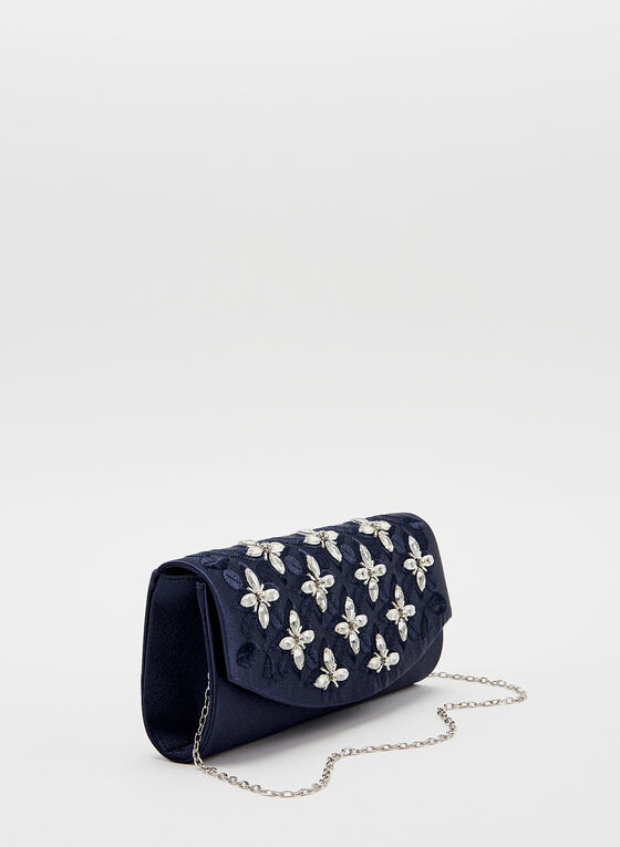 Floral Crystal Detail Clutch	, Blue, hi-res