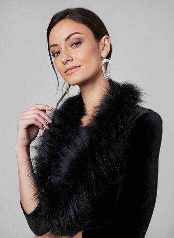 Eliza J - Faux Fur Velvet Bolero , Black, hi-res,  bolero, velvet, 3/4 sleeves, open front, faux fur, fall 2019