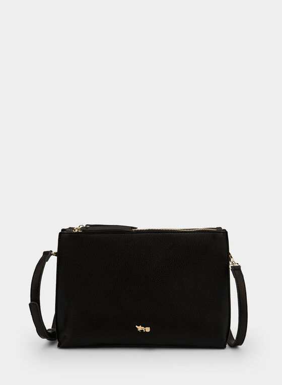 Double Zipper Crossbody Bag, Black
