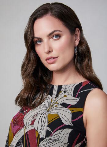 Floral Print Chiffon Dress, Black, hi-res,  day dress, A-line, lined, sleeveless, shift, chiffon, floral print, fall 2019, winter 2019