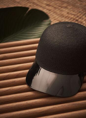 Casquette en paille à visière translucide, Noir,  casquette, paille, visière translucide, printemps été 2021, accessoires, chapeaux