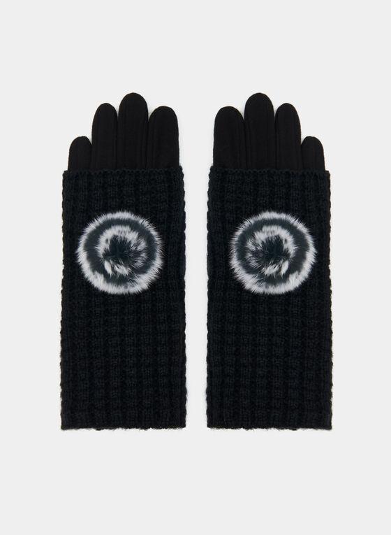 Fur Pompom Knit Gloves, Black, hi-res