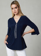 Joseph Ribkoff - Zipper Collar Top, Blue, hi-res
