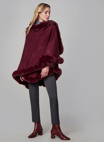 Faux Fur Trim Poncho , Red,  Ruana, pashmina, faux fur, fall winter 2019