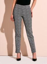 Square Print Slim Leg Ankle Pants, Black, hi-res