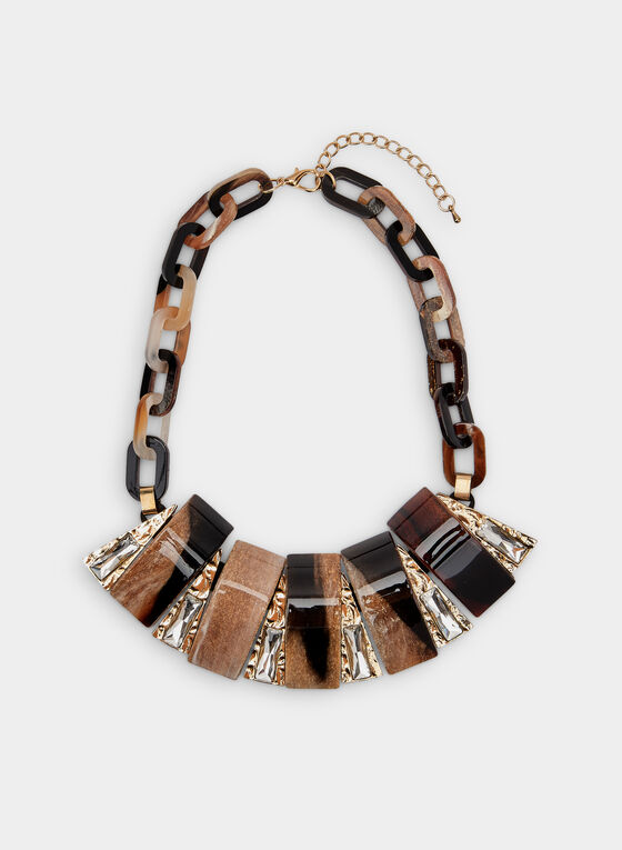 Chain Link Bib Necklace, Brown, hi-res