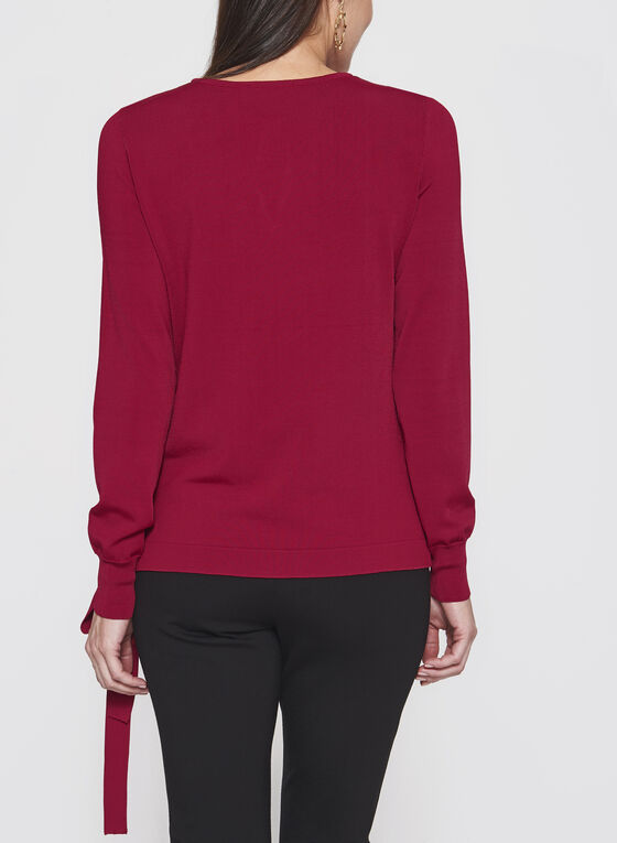 Faux Crossover Knit Sweater, Red, hi-res