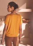 T-shirt ample à encolure en V , Jaune