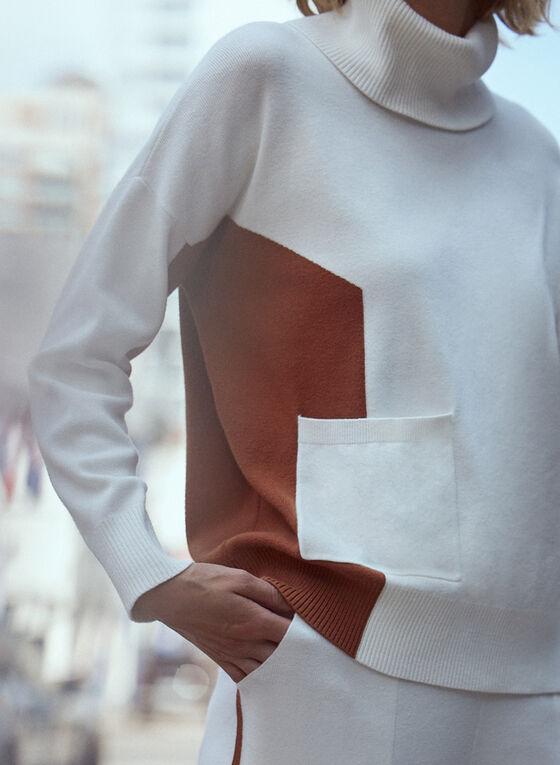 Haut à col roulé et blocs de couleurs, Blanc cassé