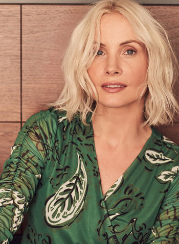 Floral & Leaf Print Top, Green,  top, floral, leaf, print, jersey, mesh, crossover, v-neck, wrap, 3/4 sleeves, ruched, spring summer 2021