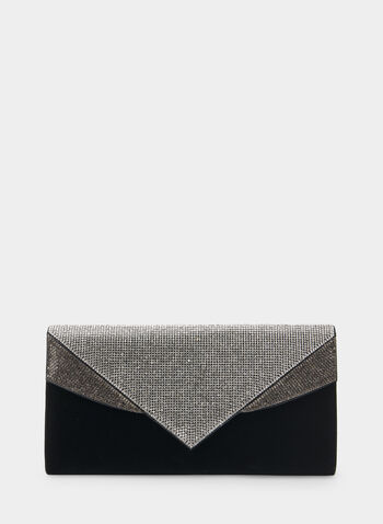 Crystal Embellished Envelope Clutch, Black,  clutch, envelope clutch, crystal clutch, crystal, holiday, fall 2019, winter 2019