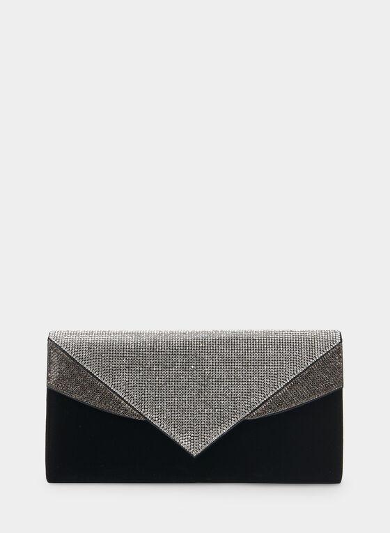 Crystal Embellished Envelope Clutch, Black