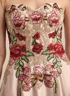 Embroidered Bustier Ball Gown, Off White