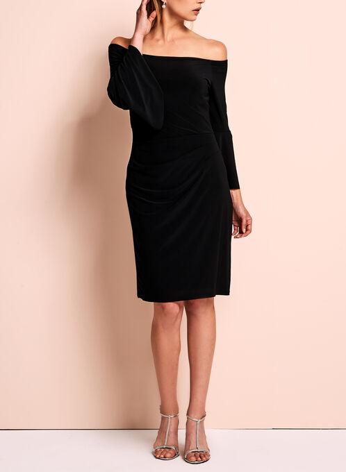 Cachet - Robe épaules dénudées à effet drapé, Noir, hi-res