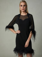 LM Collection - Open Front Feather Bolero, Black, hi-res