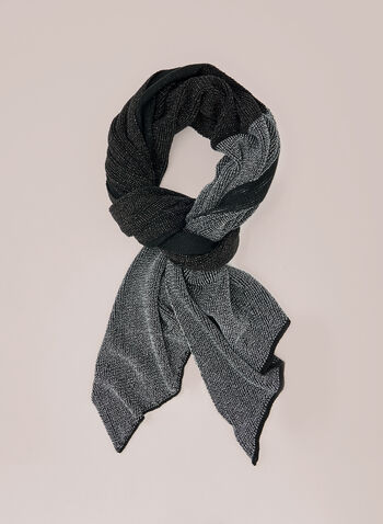 Two Tone Scarf, Black,  fall winter 2020, scarf, two tone, colour block, acrylic