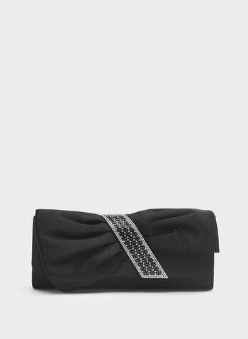 Pochette en satin drapé avec cristaux, Noir, hi-res