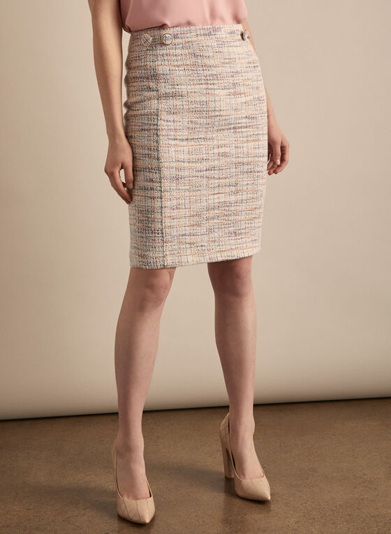 Tweed Pencil Skirt, White