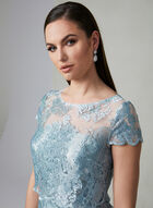 Adrianna Papell - Embroidered Illusion Dress, Blue, hi-res