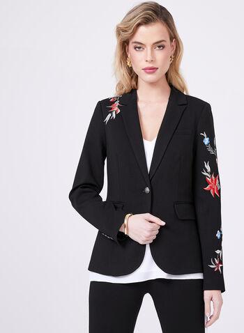 Floral Embroidered Blazer, Black, hi-res