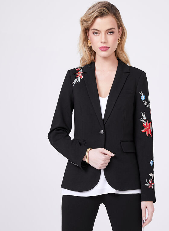 Floral Embroidered Blazer, Black, hi-res