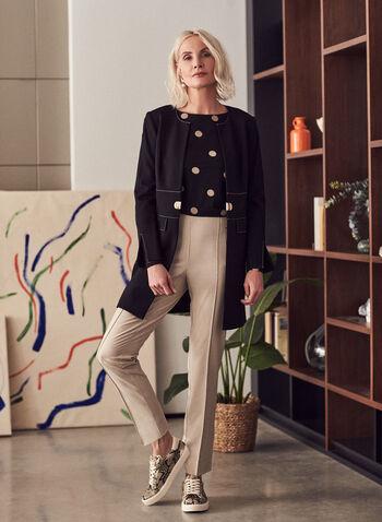 Contrast Stitch Redingote, Black,  jacket, redingote, faux pockets, shoulder pads, round collar, contrast stitching, ponte de roma, spring summer 2021