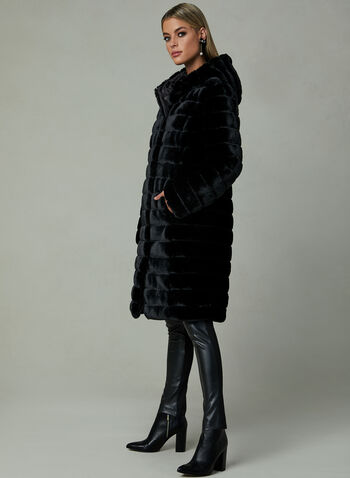 Reversible Faux Fur Coat, Black, hi-res