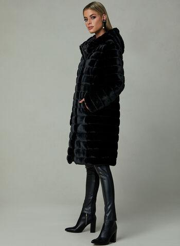 Manteau en fausse fourrure réversible, Noir, hi-res