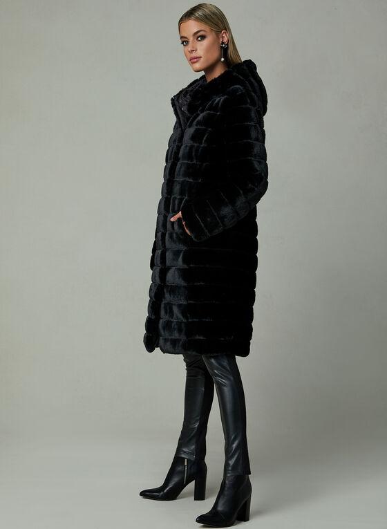 Reversible Faux Fur Coat, Black, hi-res