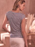T-shirt rayé à détail froncé, Bleu