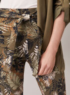 Tropical Print Pull-On Capris, Green