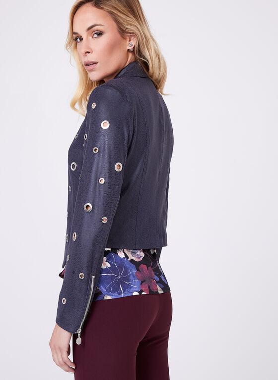 Jolibel - Grommet Detail Faux Leather Jacket, Blue, hi-res