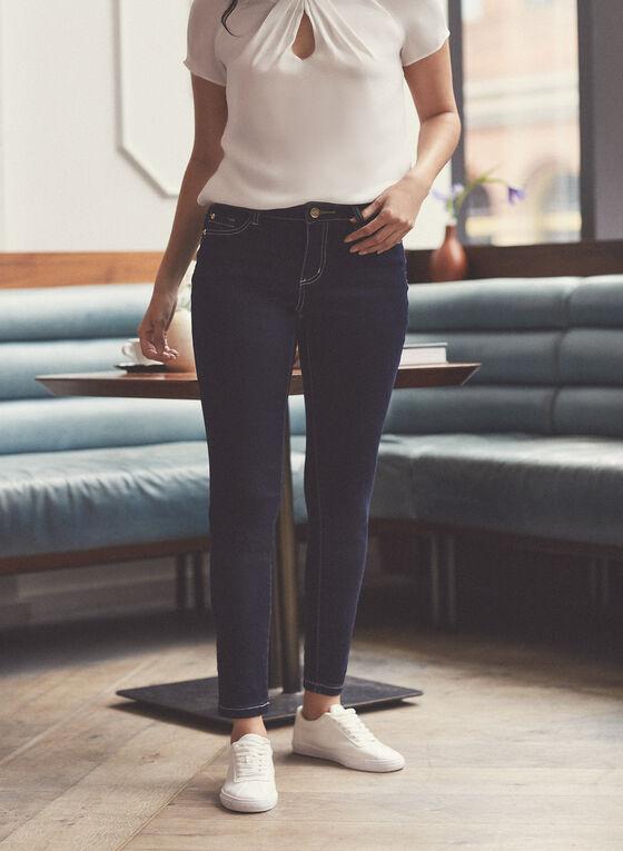 Contrast Stitch Slim Leg Jeans, Blue
