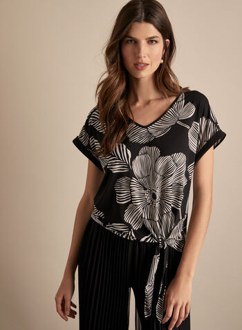 Frank Lyman - Tie Detail Floral Top, Black,  spring summer 2020, floral print, tie front, jersey fabric, cap sleeves, made in Canada