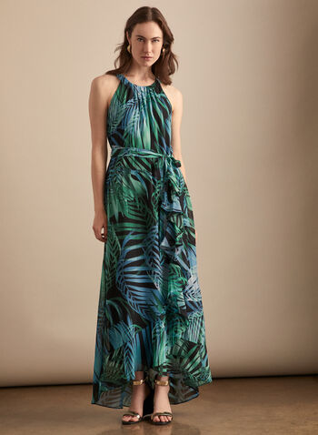 Tropical Print Maxi Dress, Black,  day dress, maxi, ruffled, wavy, pleated, cleo neck, sleeveless, tropical, print, tie belt, tulip hemline, spring summer 2020