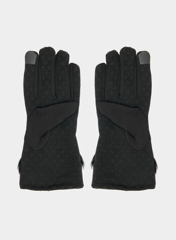 Gloves With Faux Fur Trim, Black,  gloves, faux fur, fall 2019, winter 2019