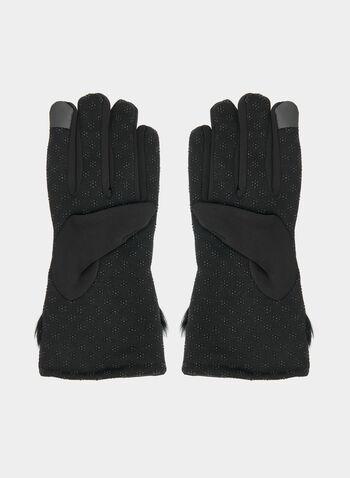 Gloves With Faux Fur Trim, Black, hi-res,  gloves, faux fur, fall 2019, winter 2019
