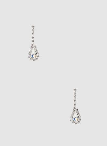 Boucles d'oreilles à pendants pierre et cristaux, Argent, hi-res