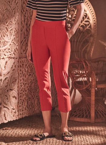 Stitch Detail Pull-On Capris, Orange,  capris, pull-on, bengaline, slim, stitch, pleats, spring summer 2020