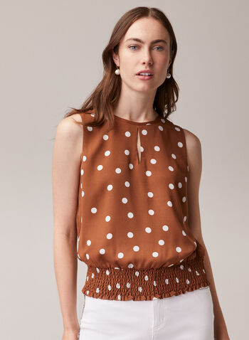Dotted Print Smocked Hem Blouse, Brown,  blouse, sleeveless, polka dot, scoop neck, smocked, keyhole, spring summer 2020